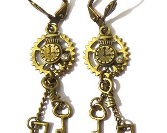 Earrings steampunk bronze gears  keys
