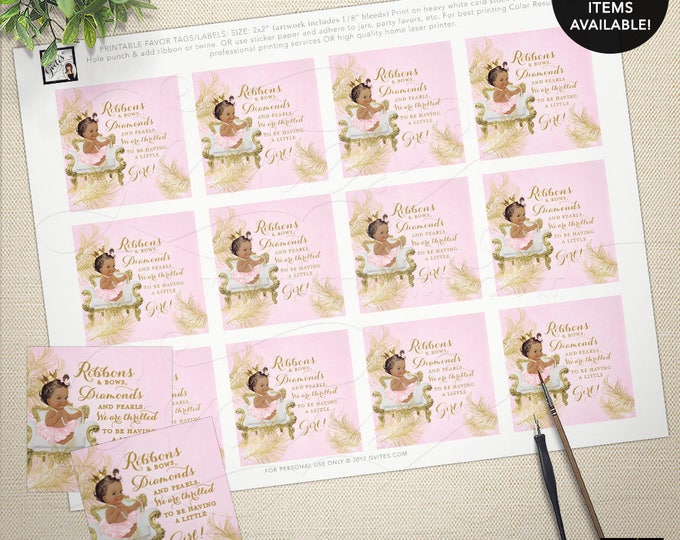 "Pink and gold tags, baby shower baby girl, african american baby girl, party favors, gift tags labels. 2x2"" 12/Per Sheet. MAX CHAR: 75"