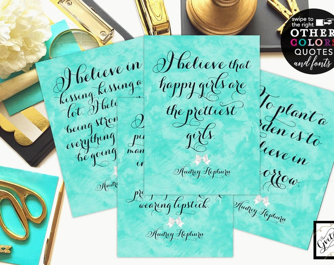 Breakfast at Tiffany's Audrey Hepburn Quotes Set of 4 - Bridal Shower Decorations, breakfast at bridal signs CUSTOMIZABLE {4x6 or 5x7}
