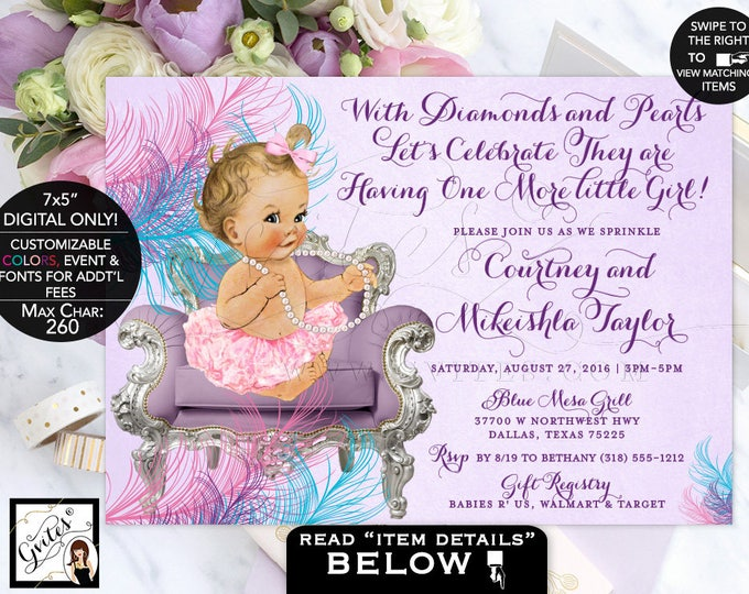 Purple and turquoise Baby Shower Baby sprinkle shower invitation lavender pink turquoise blue, ruffles and bows, vintage. Digital file only!