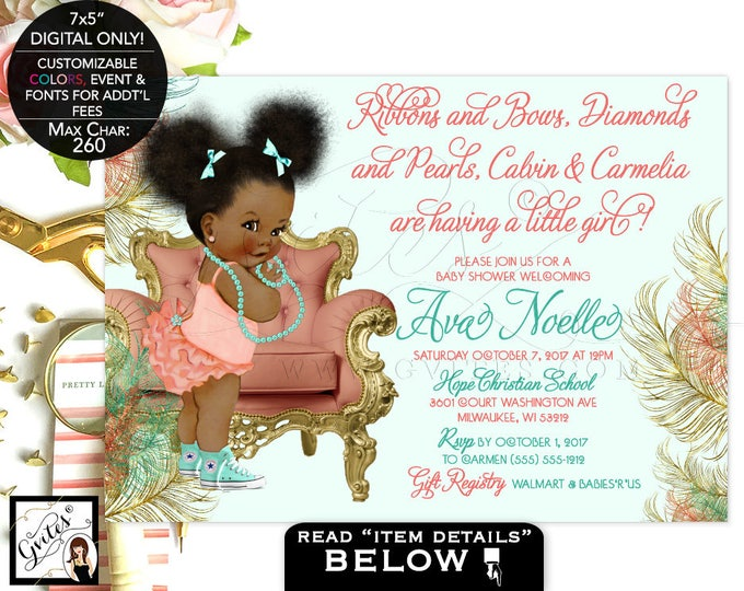 Coral and Mint Baby Shower Invitation, afro puffs baby mint green and gold African American coed shower ruffle diamonds and pearls. 7x5""