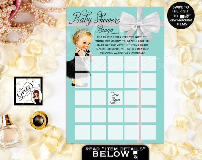 """Baby and Co Baby Shower Game, Breakfast at Audrey Hepburn Baby Girl bingo Cards Printable, 5x7""""/2 Per Sheet. #BATGBB102"""