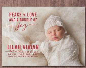 Christmas Birth Announcement Modern Holiday Birth Announcement Modern Twin Twins Boy Girl Photo Card Printable Peace Love and Bundle of Joy