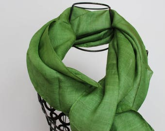 Unique scarves - green silk scarf - womens scarves - gift for her wedding dressy evening wrap - spring scarves