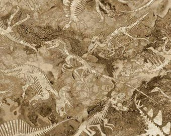 Dinosaur Fossils - 100% Quilting Cotton / Kid's Fabric [[by the half yard]]