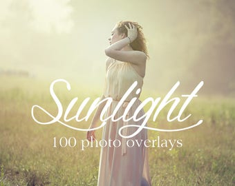 Sunlight Photo Overlays - 100 Sunlight Overlays - Sun Flares, Rainbows, Light Rays, Lens Flares - Sunlight Photoshop Overlays
