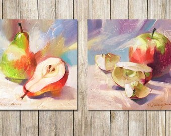 Set of 2 fruit artwork Pear art Apple original oil painting Kitchen art Yellow art still life painting home decor realistic art gift mom