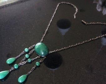 Green Edwardian chalcedony lavalier drop festoon necklace in sterling