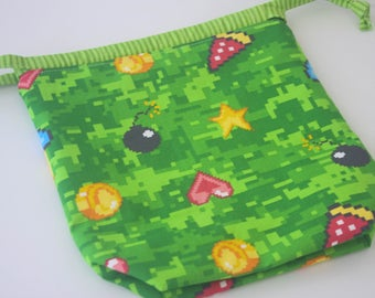 Hand Sewn 8-Bit Print Small Draw String Project Bag, Great for knitting/crochet projects, fully lined