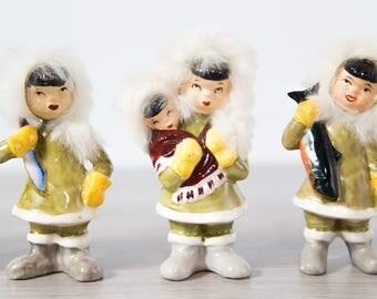 Vintage Inuit Dolls / Set of 6 Vintage Ceramic and Fur Novelty Figurines / Northwest Territories Canada Souvenir