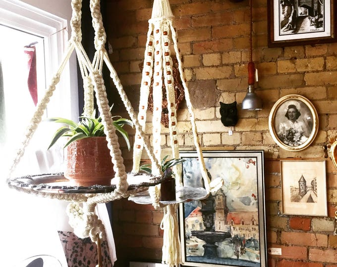 Vintage hanging macrame with silver plated tray