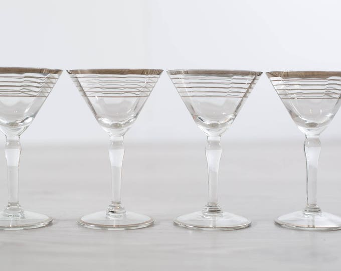 Antique Aperitif Glasses / Set of 4 Platinum Banded Martini Shaped Glasses / Silver Rim Stemware Glassware Barware Flapper Decor