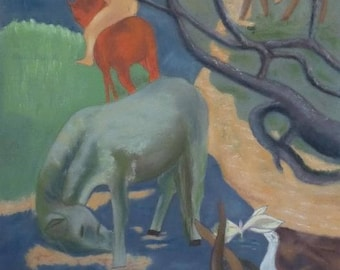 Horses painting Pastel wall decor according to Heroised