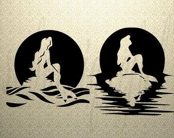 Mermaid SVG - Silhouette File - SVG File-Mermaid Silhouette