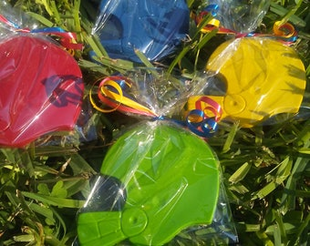 big helmet crayons, sports party favors, football party favors, football crayons, boys sports birthday goody bags, team sports party favors