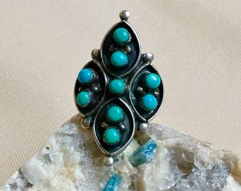 Vintage Native American Sterling silver and turquoise ring, long ring, statement ring, vintage southwest silver and turquoise ring