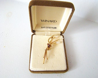 Vintage Winard 14K Gold Filled Brooch with box