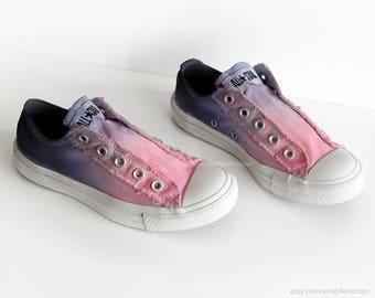 Ombré dip dye Converse, soft pink, purple, blue, slip-on sneakers, tie dye, transformed vintage shoes, EU 36 (UK 3.5, us wo 5.5, us men 3.5)