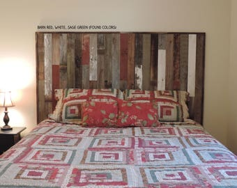 "Rustic Twin Size Bed Panel Headboard (45 3/4"" X 36"") made of Reclaimed, Recycled Barn Wood. Wallmounted.  Your Choice of Accent Colors"