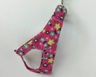 Step-In Dog Harness: Pink, Aqua and Gray Flowers