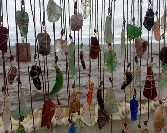 Beach Glass Suncatcher Sea Glass Art Bohemian Window Art Beach Wedding Hanging Driftwood Eco Friendly Lake Erie Ohio