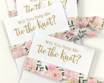 SALE LIMITED TIME | Bridesmaid Proposal | Bachelorette | Will You Be My Bridesmaid | Bachelorette Party, Tying the Knot, Hair tie Favors