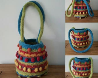 Unique felted shoulder bag UK handmade