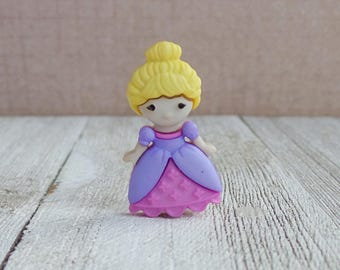 Pink and Purple Dress - Princess - Just Like Me - Blonde Hair - Little Girl - Lapel Pin