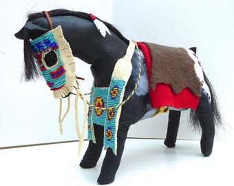 Native American Indian Plains style spirit horse Appaloosa pony model sculpture beaded tack mask breast collar buffalo leather southwestern