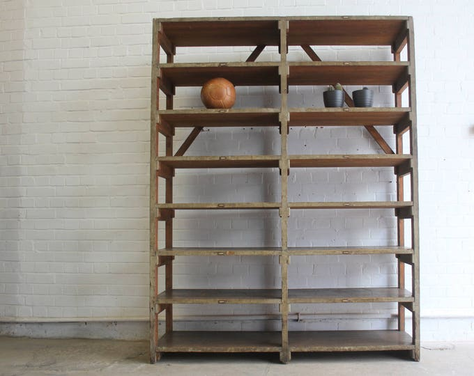 Large Wooden Industrial Factory Shelves Circa 1930s