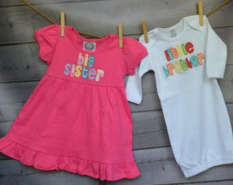 Personalized Big Lil Little Sister Big Lil Little Brother Applique Shirt or Onesie Girl or Boy Add Triple Ruffle Pants