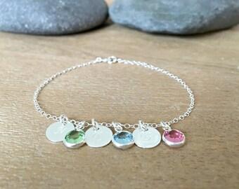 Personalized letter Bracelet monogram bracelet monogram jewelry Birthstones Letter jewelry initial Bracelet 14k Gold Filled Mothers bracelet
