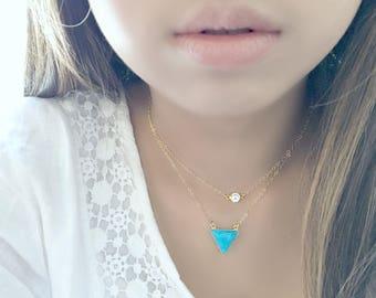 turquoise necklace turquoise jewelry turquoise triangle necklace turquoise trillion 14k gold filled boho geometric layering necklace gift