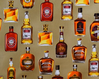 Alcohol Fabric Cheers Fabric Tan From Robert Kaufman 100% Cotton