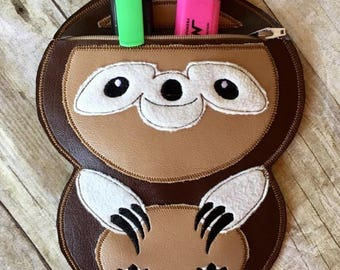 SLOTH  ITH Pencil - Bag/Pouch - 3 Sizes -  Completely In The Hoop - DIGITAL Embroidery design