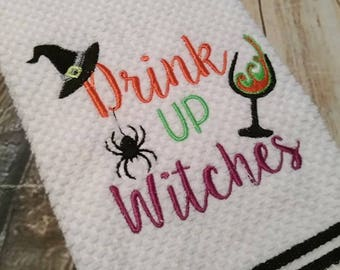 Drink Up Witches - Halloween - Wine - 2 Sizes Included -DIGITAL Embroidery DESIGN