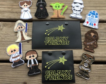 """Galaxy Friends Finger Puppets SET Includes a 4 x 4 and 5 x 7 """"Case"""" to carry them - 12 Designs - DIGITAL Embroidery Design"""