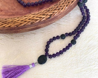 Amethyst Prayer Beads Necklace, aromatherapy jewelry, lava stone, mala neckace, gemstone mala, crystal healing, essential oil jewellery