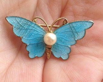 Enamel Butterfly Brooch, Cloisonne Butterfly Brooch, Blue Butterfly Brooch, Blue enamel Butterfly Pin, Blue Butterfly Pearl Pin, Enamel Pin