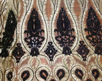 New High Quqlity!!1 Yard Gold&Black Sequin Fabric,Embroidered Sequin Dress,Party Dress Fabric,Houte Couture Fabric,Stretch on 2 Way