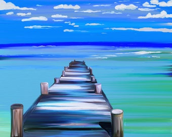 Pier,Dock,Rolling Waves Beach Scene Wall Decor, Large Size Wall Art, Giclee Print,Seascape, Wall Art For Framing