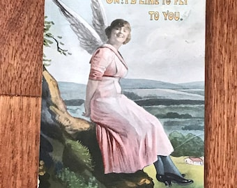 Antique 1900s Greetings Postcard, Angel in Pink Dress, Oh! I'd Like To FlyTo You, Great Postcard Collectible