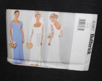 Butterick 6387 Misses Misses Petite Womens Sizes 6-10 Wedding Prom Lined Dress Princess Evening