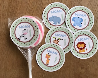 Safari Lolly Jar /  Lollypop Stickers - Personalised - Safari Birthday Party, Baby Shower, Naming Day, Christening