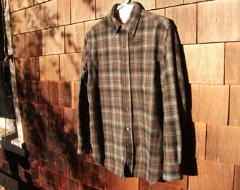 Vintage 50's Highlander Wools Flannel Plaid Wool Shirt Size M