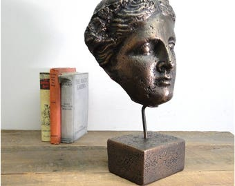 Vesuvius Bust Statue Sculpture on Pedestal and Pole w Bronze Finish