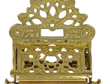 French Victorian Polished Brass Toilet Paper Holder w Fan Top, Antique Replica