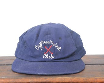 Vintage 50's 60's Old Antique Cypress Point Golf Club Wool Chain Stitch Fitted One Size Hat Baseball Cap 7 1/4 Medium