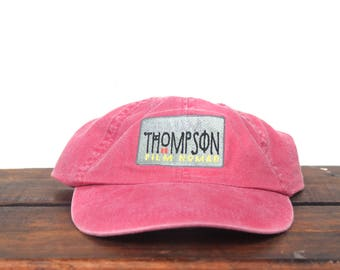 Vintage 90's William Thompson Film Nomad Photographer Washed Out Red Unstructured Strapback Hat Baseball Cap