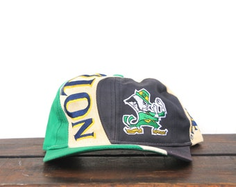 Vintage Notre Dame Fighting Irish Big Logo Text NCAA Hat Snapback Baseball Cap